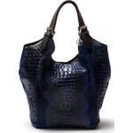 Carla Ferreri Elegantní kožená kabelka 838 Blu Scuro