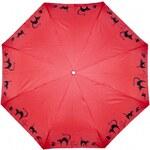Doppler Dámský skládací plně automatický deštník Cats - červený 7441465C03