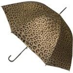 Blooming Brollies Dámský holový vystřelovací deštník Metallic Animal Print Gold Leopard EDSAPG