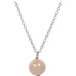 JwL Jewellery Pravá perla lososové barvy na stříbrném řetízku JL0090