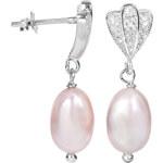 JwL Jewellery Perlové náušnice s růžovou pravou perlou JL0112