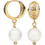 JwL Jewellery Stříbrné zlacené náušnice s pravou bílou perlou JL0121