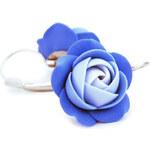 Troli Modré visací náušnice kytičky