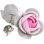 Troli Šedo-růžové náušnice puzetky kytičky