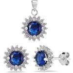 Silvego Stříbrná souprava šperků s tmavě modrými zirkony FIJS008-TM