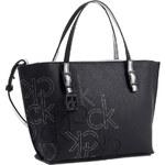 Calvin Klein Elegantní kabelka Hailey Embossed Logo Studio Tote černá