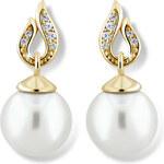 Zodiax Zlaté náušnice s přírodní perlou a zirkony DLE 3125 Y