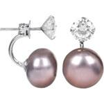 JwL Jewellery Stříbrné dvojnáušnice s pravou šedou perlou a krystalem JL0213