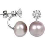 JwL Jewellery Stříbrné dvojnáušnice s pravou růžovou perlou a krystalem JL0215