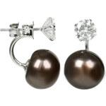 JwL Jewellery Stříbrné dvojnáušnice s pravou hnědou perlou a krystalem JL0217