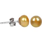 JwL Jewellery Stříbrné náušnice s pravou zlatou perlou JL0222