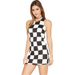 Forever 21 Dámské šaty Mod Checkered Shift Dress