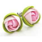 Troli Růžovo-zelené náušnice puzetky kytičky