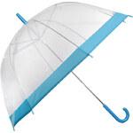 Blooming Brollies Dámský průhledný holový deštník Clear Dome Turquoise EDSCDTUR