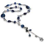 JwL Jewellery Dlouhý náhrdelník s modrým achátem a pravými perlami JL0168