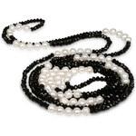 JwL Jewellery Dlouhý náhrdelník z pravých perel a černých krystalů JL0191