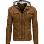Coolbuddy Pánská bunda z ekologické kůže s odepínací kapucí 8994 Velikost: XXL