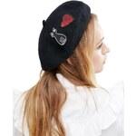 HUSH HUSH Vlněný baret s vyšívanou kočkou a srdcem