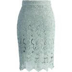 Sukně Chicwish Crochet of Rose Pencil Mint S