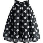 Černá sukně s puntíky Chicwish Midi S