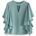 Top Chicwish Frilling Sleeves in Blue S