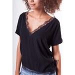 MOSQUITO Dámské tričko s krajkou černé