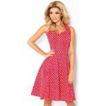 NUMOCO Dámské šaty PIN UP ROCKABILLY červené s bílými puntíky