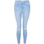New Look Blaue Skinny-Jeans mit Rissen und offenen Kanten