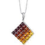 Eppi Stříbrný náhrdelník plný jantarů Avery
