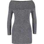 Šedý žíhaný delší svetr s odhalenými rameny TALLY WEiJL