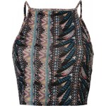 Rock and Rags Feather Print Crop Top, blue multi