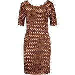 Hnědé puntíkované šaty s páskem Vero Moda Kaya
