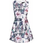 Krémové šaty s fialovými květy AX Paris