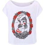Bílé dámské volnější tričko ZOOT Originál Pin Up