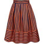 Modro-oranžová pruhovaná midi sukně Closet