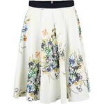 Krémová kolová sukně s květy Closet