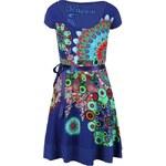 Modré šaty se stuhou v pase Desigual Regina Guer