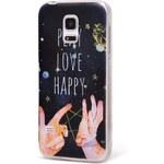 Modrý ochranný kryt na Samsung Galaxy S5 mini Epico Play, Love, Happy