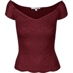 Vínové krajkové tričko s lodičkovým výstřihem TALLY WEiJL Pippa