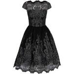 Černé krajkované třpytivé šaty Chi Chi London April
