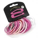 SET: Gumičky a sponky do vlasů 28079 růžové - 20 ks