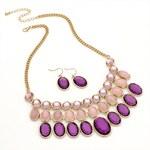 SET: Fialový náhrdelník a náušnice Viola 29223