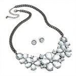 SET: Šedý náhrdelník a náušnice Adelaide 29782