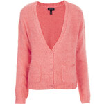 Topshop Knitted Fluffy V Neck Cardi
