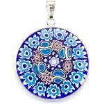 Murano Přívěsek skleněný - stříbro 925 - tmavá modrá, světlá modrá - Millefiori 26
