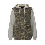 Topshop Jersey Sleeve Camo Hooded Jack