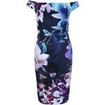 Tmavě modré šaty s květinovým potiskem Lipstick Boutique Lora