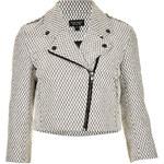Topshop Mini Quilt Crop Biker Jacket