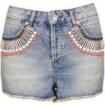 Topshop MOTO Embellished Denim Hotpants