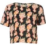 Golddigga Crop Top Ladies, black - floral